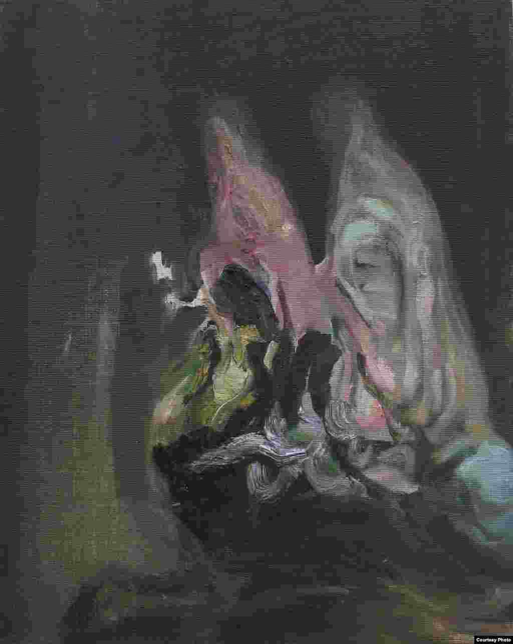 """Aus der Serie Eigenzeitliche Betrachtungen """"Anadyomene"""" (""""ანადიომენე"""") Öl und Tempera auf Leinwand, 30 x 24 cm, 2015"""