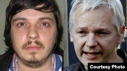 Former Belarusian policeman Alyaksandr Barankau (L) and WikiLeaks founder Julian Assange