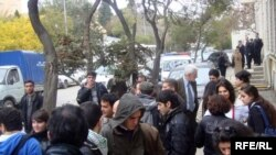 Media and followers outside the trial of Emin Milli and Adnan Hajizada in an Azerbaijani district court in November