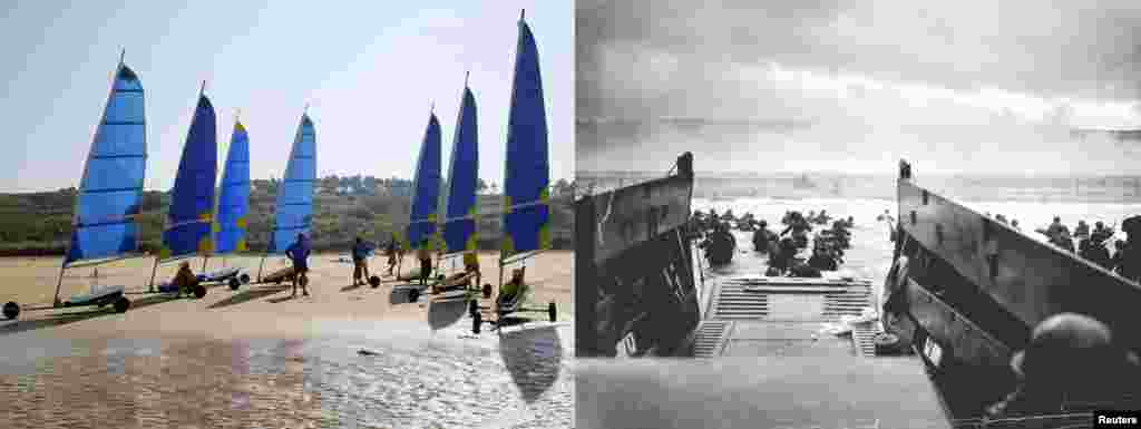 On the right, U.S. troops wade ashore from a Coast Guard landing craft at Omaha Beach on June 6, 1944; and the same beach in 2013.
