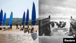 Американські війська пробираються до берега від берегової охорони десантних кораблів Omaha Beach і фото того ж місця сьогодні