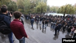 Students demonstrate outside Yerevan State University on November 8. Students are wary the Armenian military will send them to Nagorno-Karabakh or another potential hot spot.