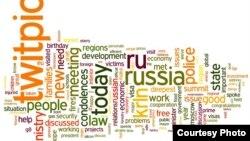 Облако тегов, показывающее частоту употребления некоторых слов в twitter-аккаунте Дмитрия Медведева в бытность его президентом Российской Федерации.