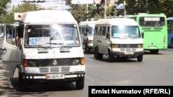 Микроавтобусы - самый популярный вид общественного транспорта в Бишкеке.