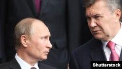 Віктор Янукович (праворуч) та президент Росії Володимир Путін