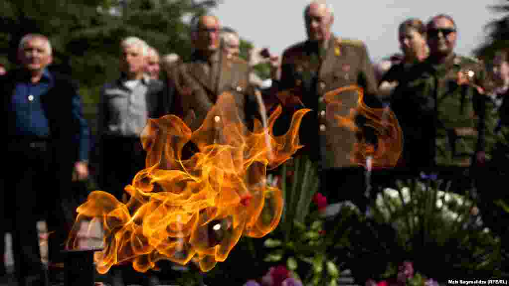 Veterans attend a memorial In Vake Park in the Georgian capital, Tbilisi.