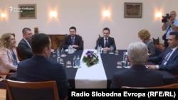 Лидерска средба на претседателот на СДСМ, Зоран Заев, на ВМРО-ДПМНЕ, Христијан Мицкоски, на ДУИ, Али Ахмети, БЕСА, Билал Касами