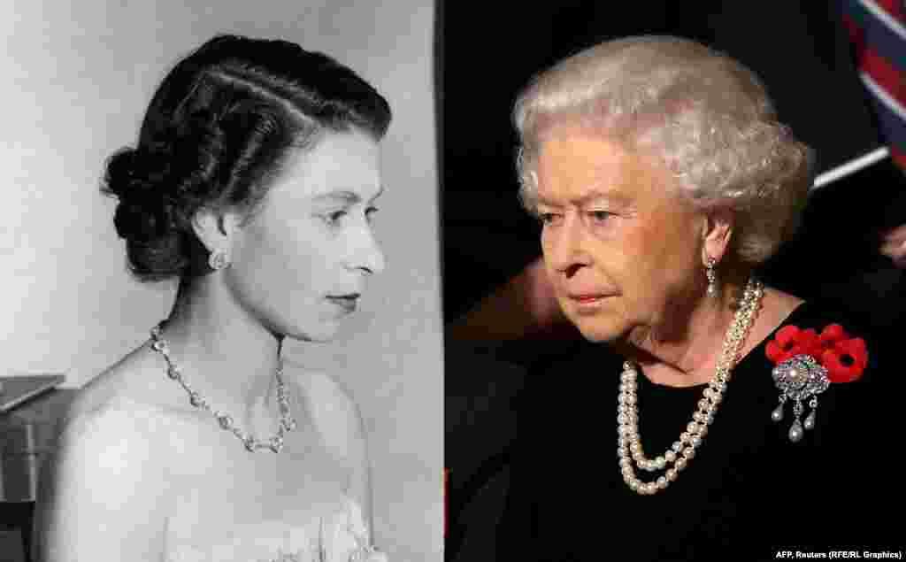 Queen Elizabeth II in 1953 (left) and 2015.