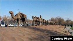 Инсталляция в виде каравана. Фото пресс-службы Госкомтуризма Узбекистана.