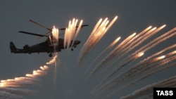 A Russian military Ka-52 helicopter demonstrating air strikes in 2016.