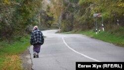 Жительница села Дальнее идет в соседнее село