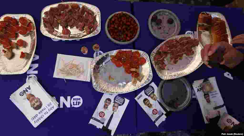 Leaflets and free food on a table at a campaign stand for the ANO (Yes) party in Prague on October 3. ANO, which was founded by Czech billionaire Andrej Babis, is third in the latest opinion polls ahead of the October 25-26 elections.