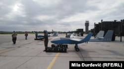 The drones from China were on display at the Batajnica military airport near Belgrade.