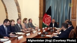 Afghan President Mohammad Ashraf Ghani (M) met with NATO member countries ambassadors in Kabul on August 3.