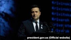 Ukrainian President Volodymyr Zelenskiy speaks at a ceremony honoring the victims of Babyn Yar.