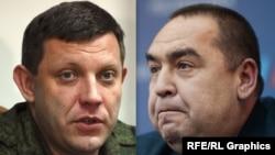 Александр Захарченко и Игорь Плотницкий (справа), главари группировок «ДНР» и «ЛНР»