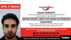 Страсбургтегі шабуылға күдікті Шериф Шекат туралы полиция таратқан хабарлама.