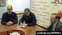 Алег Корбан, Зьміцер Дашкевіч, Андрэй Дзьмітрыеў на круглым стале, прысьвечаным справе Джона Сільвэра