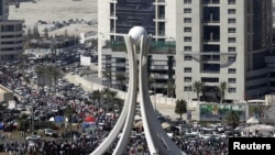 Antigovernment protesters gathered in downtown Manama, the Bahraini capital, on February 20.
