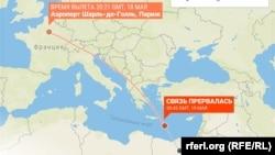 EgyptAir ավիաընկերության A320 օդանավի թռիչքի հետագիծը մինչև ռադարից անհետանալը