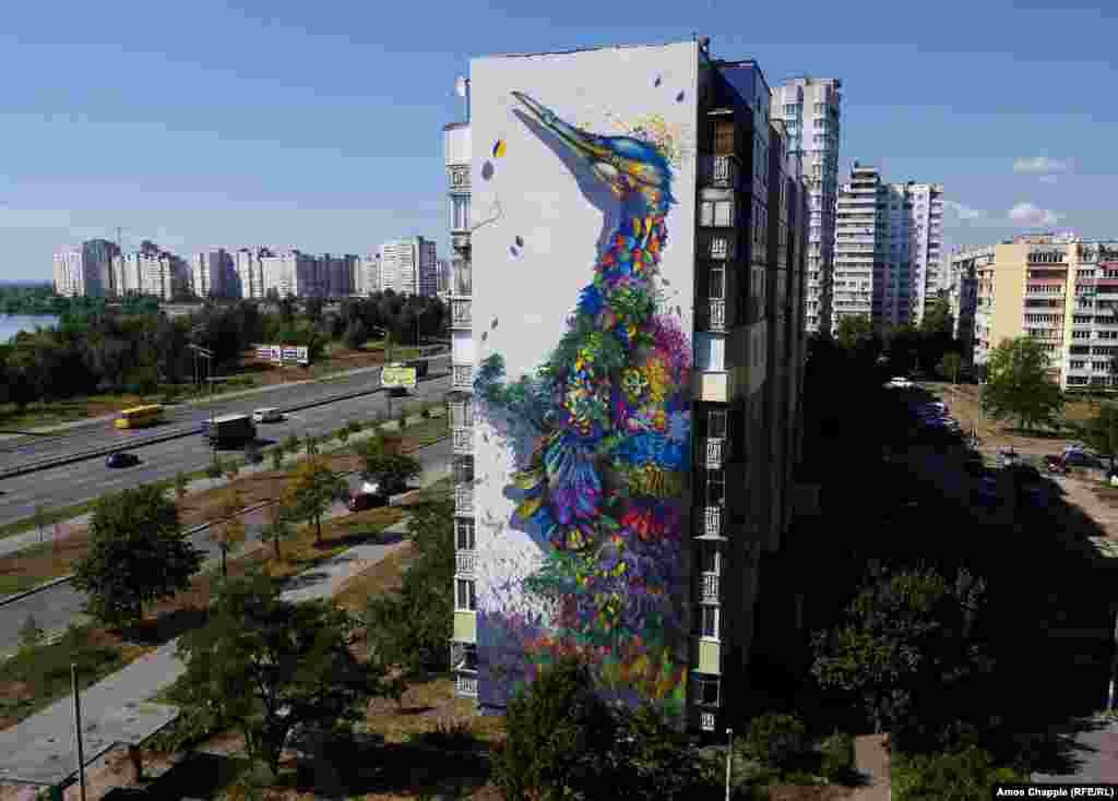This kaleidoscopic cormorant, by artist Ernesto Maranje, is one of the first things visitors to Kyiv see; it faces the morning sun on the highway from the airport.