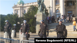 Serbia -- Protest against the epidemiological measures due to coronavirus outbreak, police forces in front of Serbian Parliament in Belgrade, July 8, 2020.