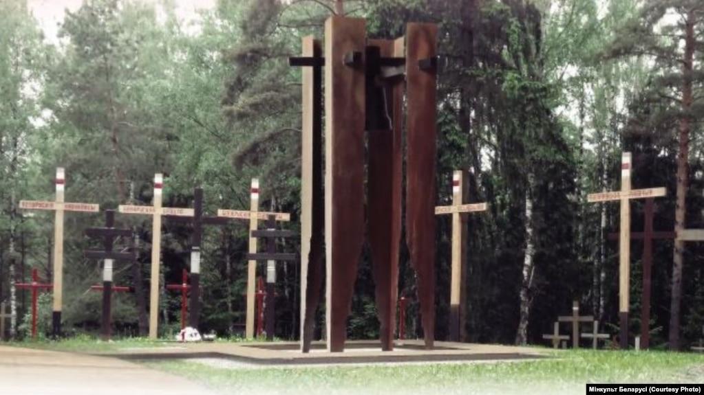 Эскіз помніка калектыў скульптараў Вольгі Нячай і Сяргея Аганава, а таксама архітэктараў М. Маркаўцава і В. Ярмоліна.