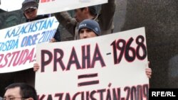 Kazakh asylum seekers holding a protest last month in Prague against their possible deportation from the Czech Republic. They say they would face persecution for their religious beliefs if they return to Kazakhstan.