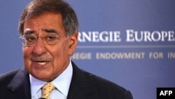 U.S. Secretary of Defense Leon Panetta speaking to the Carnegie Europe organization in Brussels.