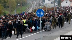 Slovenian police and army escort migrants from the train station to a registration point in the village of Sentilj on October 28.