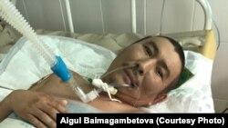 Кайрат Егимбаев на фотографии, снятой его адвокатом Айгуль Баймагамбетовой в больнице города Капшагая.