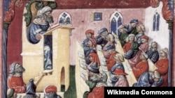 Унівэрсытэцкая лекцыя ў сярэднявечнай Балёньі (ілюстрацыя з манускрыпту 14-га стагодзьдзя)