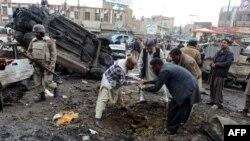 Кветтада жарылыс болған жер. Пәкістан, 10 қаңтар 2013 жыл.