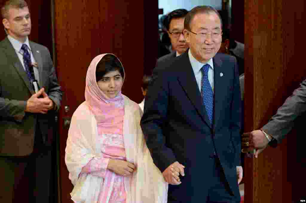 Malala Yousafzai (left), the 16-year-old schoolgirl who was shot by the Taliban in Pakistan in 2012, with United Nations Secretary-General Ban Ki-moon ahead of an address she gave to a UN youth assembly in New York on July 12. (EPA/Justin Lane)
