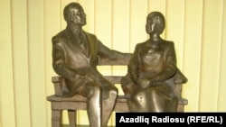 "A statue of Heydar Aliyev and his wife, which is one of the ""highlights"" of the Baku museum dedicated to the former Azerbaijani president."