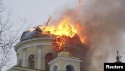 Пожар в Спасо-Преображенском соборе. Болград, 26 января 2011 года.