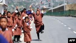 Pe o stradă din Butan