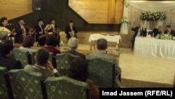 """جانب من ندوة """"إسهامات الفنانين اليهود في الأغنية العراقية""""."""