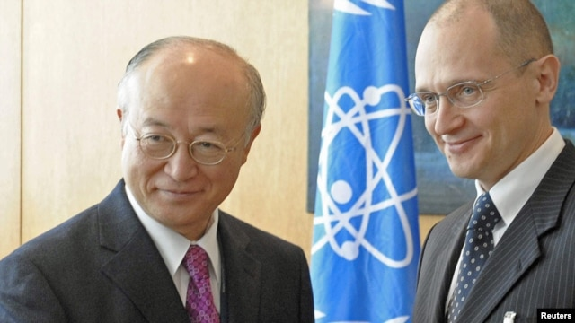 IAEA Director-General Yukiya Amano (left) and Sergei Kiriyenko, Russia's atomic energy chief, at UN headquarters in Vienna on March 29.