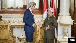 رئيس اقليم كردستان العراق مسعود بارزاني يستقبل في أربيل وزير الخارجية الاميركي جون كيري
