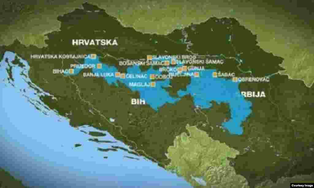 Карта балканского наводнения.