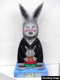 Александр Лукашенко в виде зайца (к году зайца) с маленьким зайцем