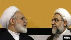 مهدی کروبی (چپ) گفته است که سخنرانی های «تحريک آميز» به برنامه هسته ای ايران ضربه زده است. (عکس: مهر)