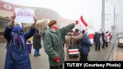 Nyugdíjasok minszki tüntetése Lukasenka ellen 2020. január 4-én.