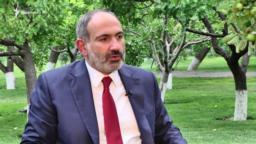 Armenian Prime Minister Nikol Pashinian speaks to RFE/RL in Yerevan on July 17.