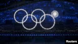 Participants march by as one of the Olympic rings fails to completely illuminate during the opening ceremony of the 2014 Sochi Winter Olympics on February 7.