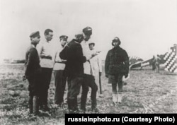 Wrangel inspects pilots of his military's meager air force in Crimea, likely between April and November 1920.