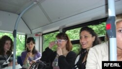 Georgian migrants on a bus in Munich, Germany.