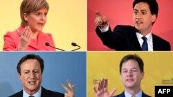 Ұлыбритания саяси ұйымдар жетекшілерінің суреттері. Үстіңгі қатарда: Шотланд ұлттық партия лидері Никола Старжен (сол жақта), Лейбористік оппозиция жетекшісі Эд Милибэнд (оң жақта). Астыңғы қатарда: Ұлыбритания премьер-министрі әрі консерваторлар лидері Дэвид Кэмерон (сол жақта) және либерал-демократиялық ұйым жетекшісінің орынбасары, премьер-министр орынбасары Ник Клегг (оң жақта).