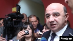Armenia -- Energy Minister Armen Movsisian speaks with journalists.